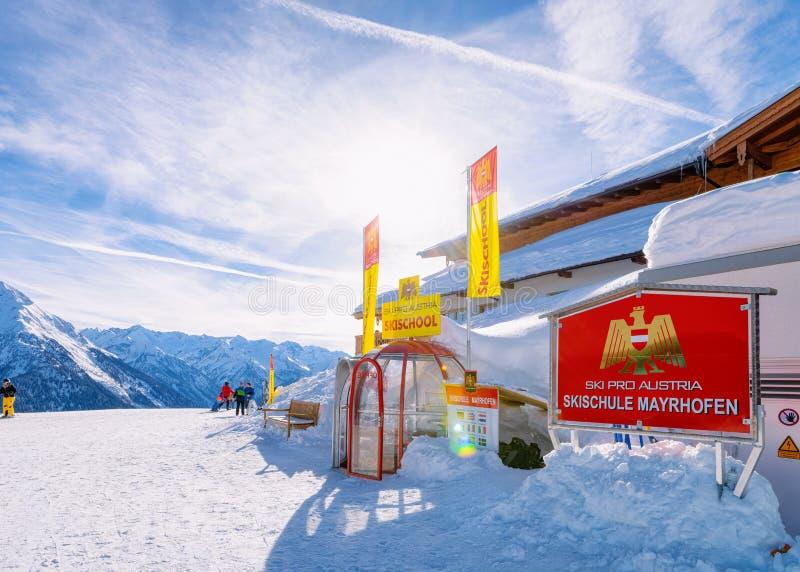 Skiing on Penken Park ski school in Austria stock photography