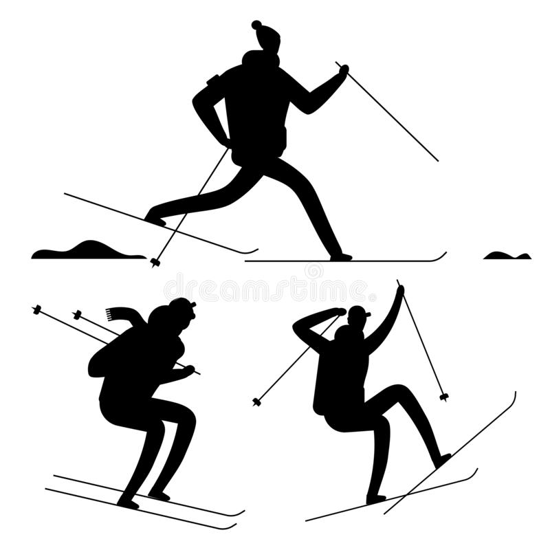 Skiing people black silhouettes isolated on white background vector illustration