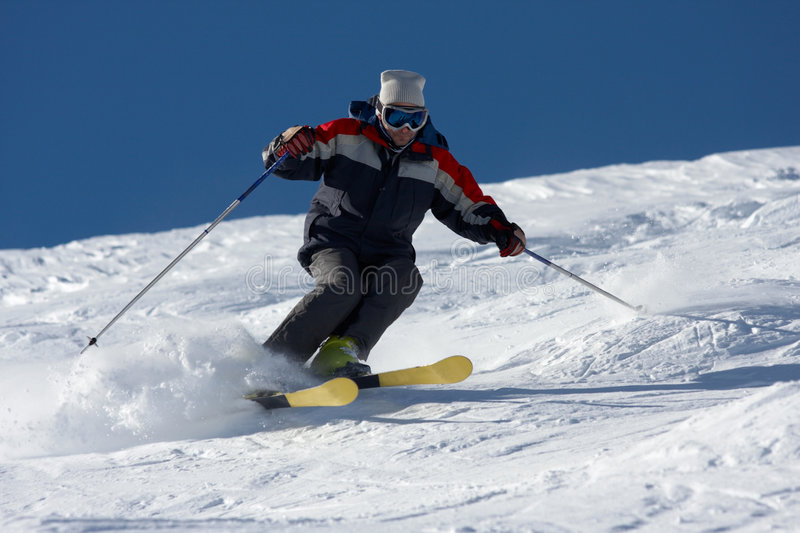 Skiing in powder snow royalty free stock image