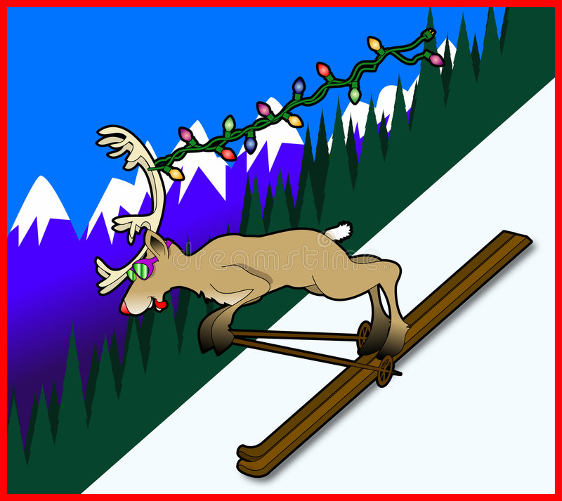 Skiing_reindeer royalty free stock photography