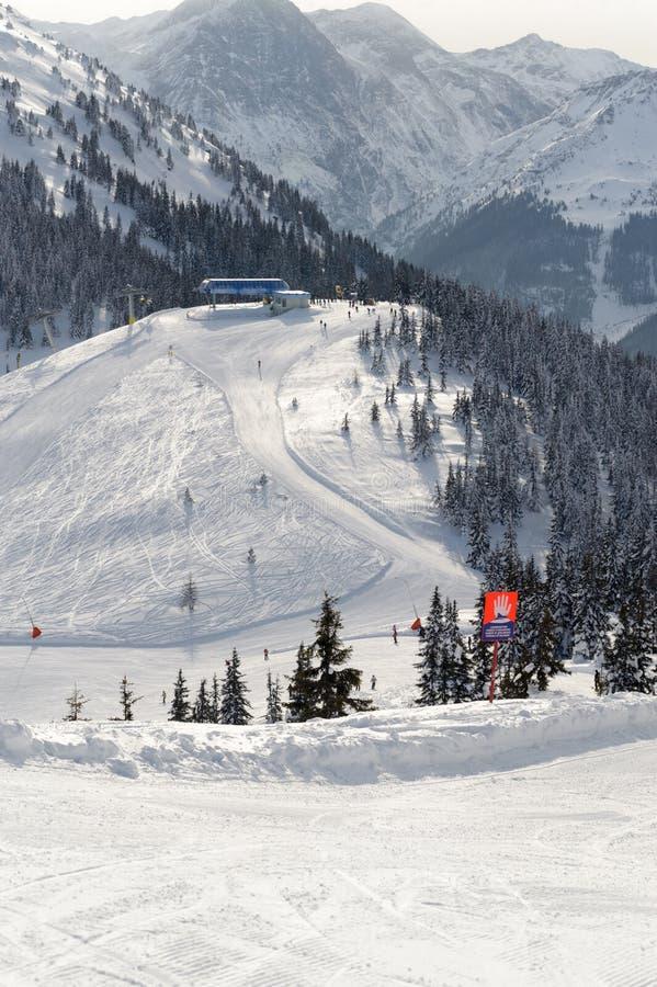 Skiing resort. Slope on the skiing resort Planai & Hochwurzen stock photos