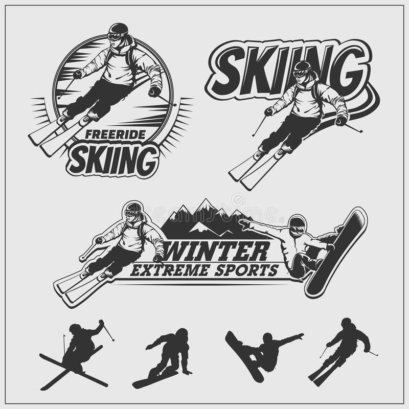 Skiing set. Silhouettes of skiers and snowboarders, ski emblems, logos and labels. stock illustration