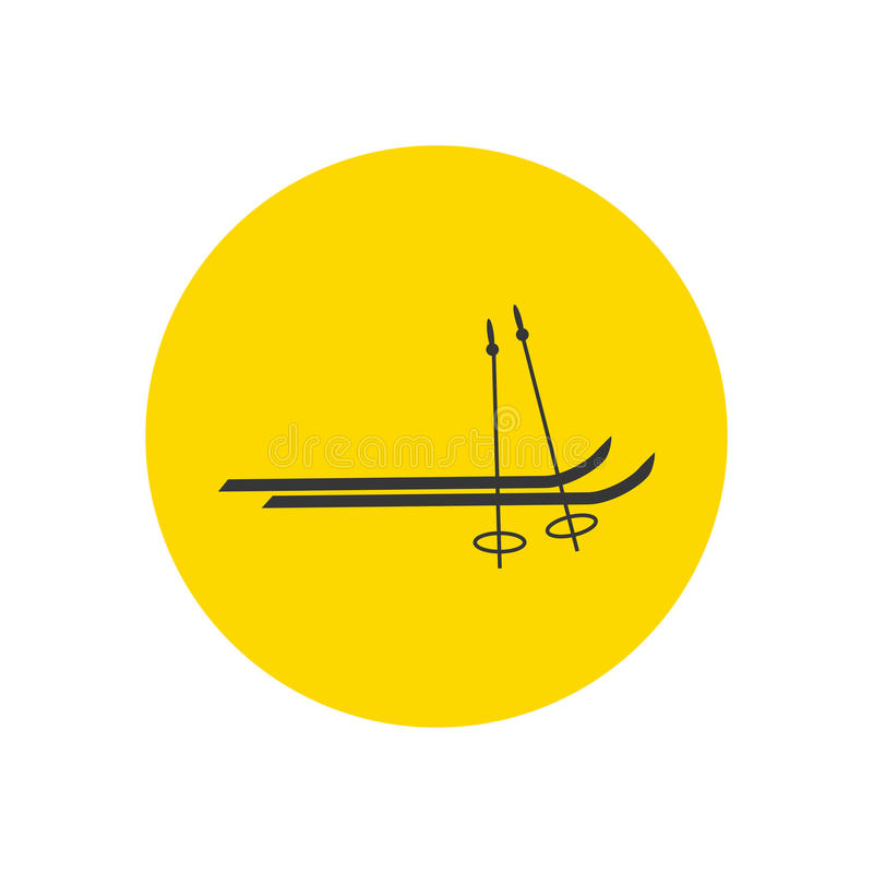 Skiing silhouette icon. On the yellow background. Vector illustration stock illustration