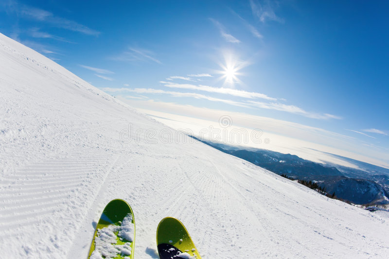 Download Skiing on a ski slope stock image. Image of snow, close - 8114591