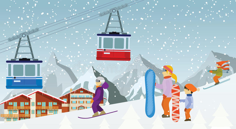 Download Skiing And Snowboarding In The Mountains Stock Vector - Illustration: 35665088