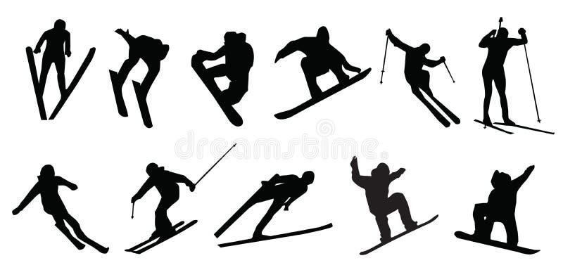 Skiing sports winter snowboarding royalty free illustration