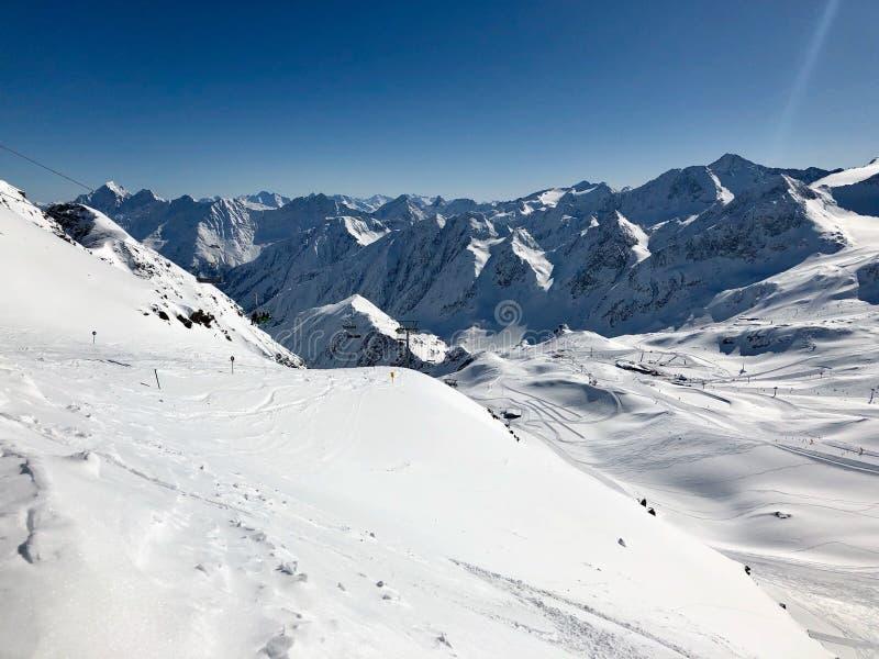 Skiing in the Stubai glacier ski resort royalty free stock images
