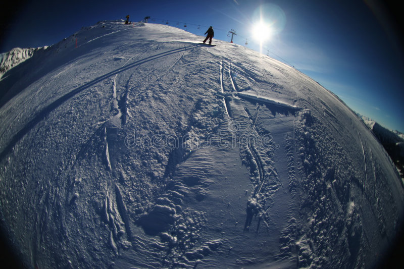 Skiing in the Swiss Mountains stock photography