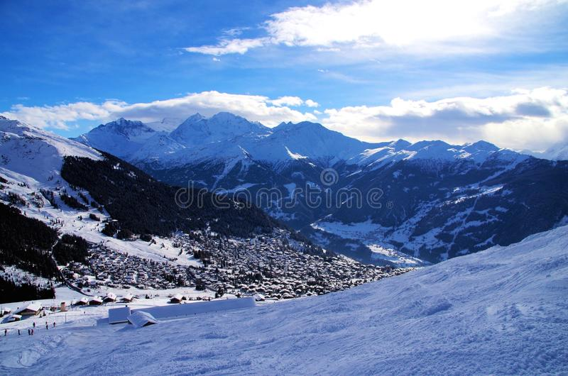 Skiing in Verbier. Famous Ski resort Verbier in Switzerland stock photography