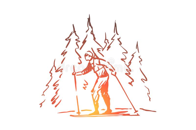 Skiing, winter, forest, sport, extreme concept. Hand drawn isolated vector. stock illustration