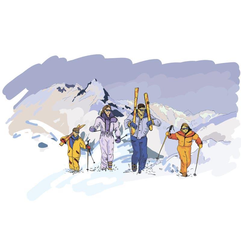 Skiing, Winter Fun - Happy Family Ski Team Royalty Free Stock Image