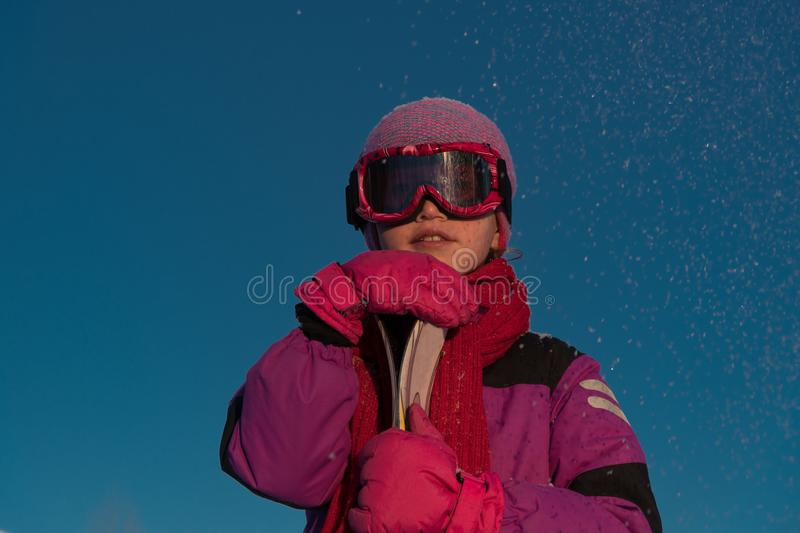 Skiing, winter sports - portrait of young skier royalty free stock photo