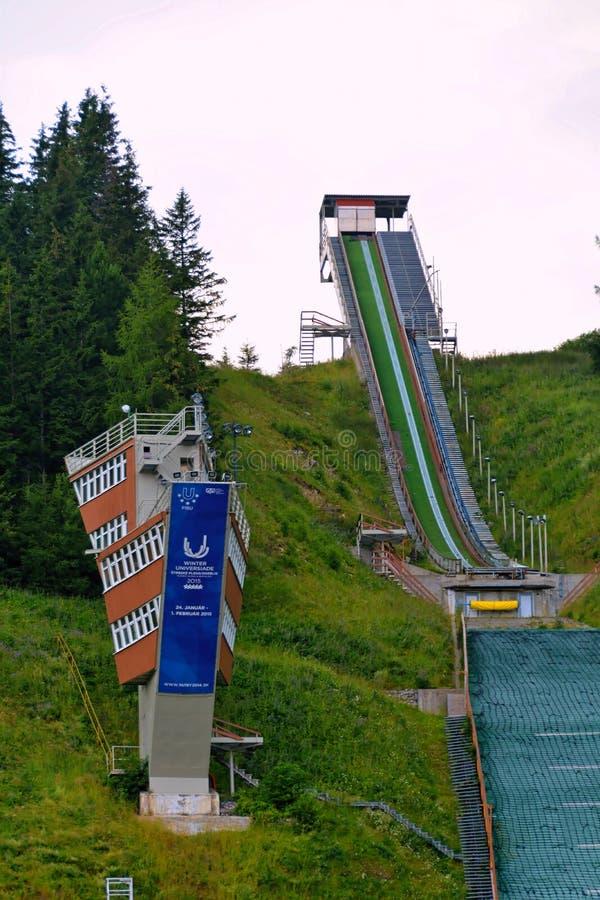 Skijump kulle i Strbske Pleso royaltyfri foto