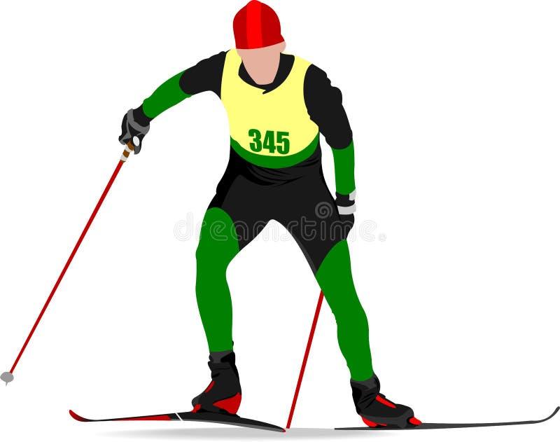 Skiläufer färbte Schattenbilder , stock abbildung