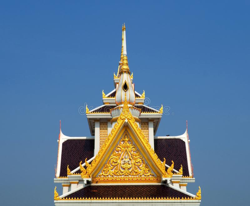 Skilfully crafted gable at Thai temple. Wat Ku in Nonthaburi province of Thailand royalty free stock images