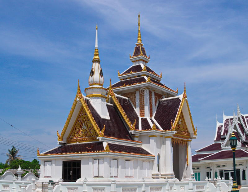 Skilfully crafted pavilion at Thai temple. Skilfully crafted pavilion in peaceful surrounding at Buddhist temple Wat Ku stock image