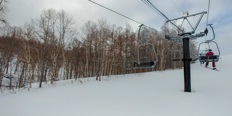 Skilift in verrichting stock foto's