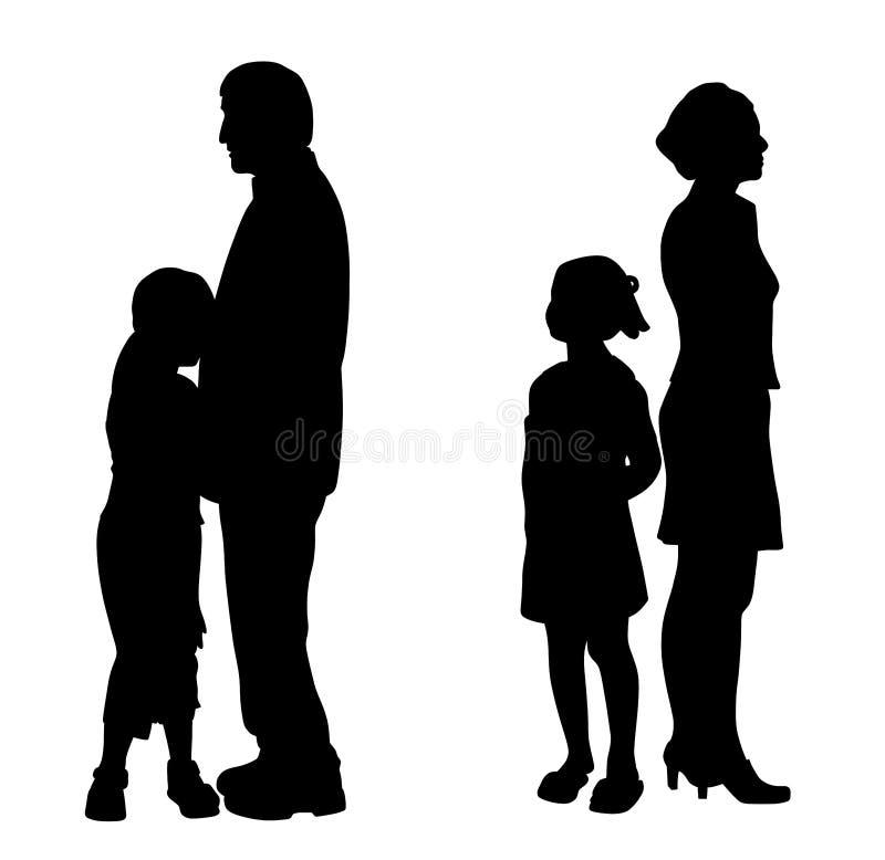 Skilja sig från föräldrar med två ledsna olyckliga barn royaltyfri illustrationer