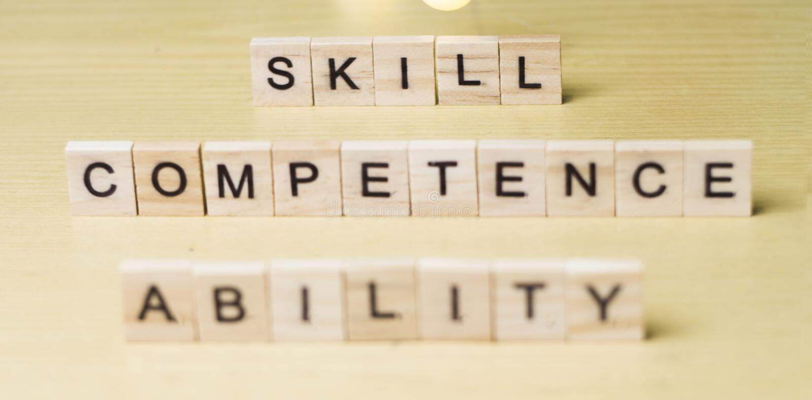 Skill Ability Competence, Business Words Quotes Concept royalty free stock images