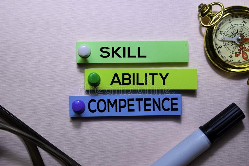 Skill, Ability, Competence text on sticky notes isolated on office desk royalty free stock images