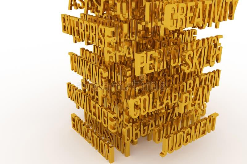 Skill, Plan, Education, business conceptual golden 3D rendered words. Caption, wallpaper, alphabet & cgi. Skill, Plan, Education, business conceptual golden 3D vector illustration