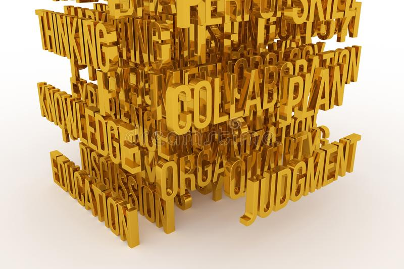 Skill, Plan, Education, business conceptual golden 3D rendered words. Wallpaper, text, backdrop & typography. Skill, Plan, Education, business conceptual golden royalty free illustration