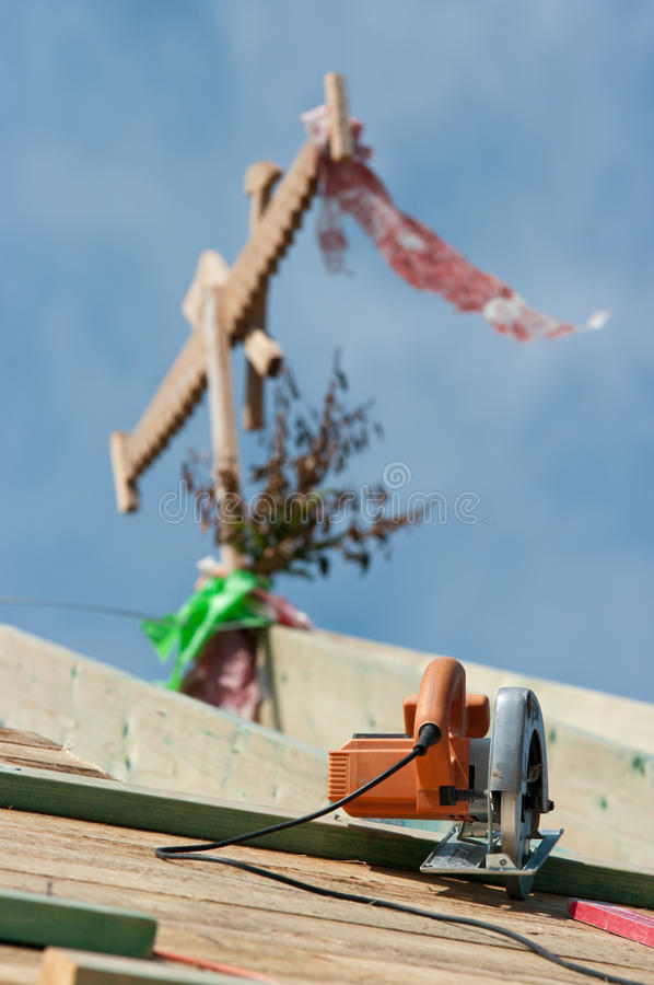 Skill Saw On Roof Royalty Free Stock Image