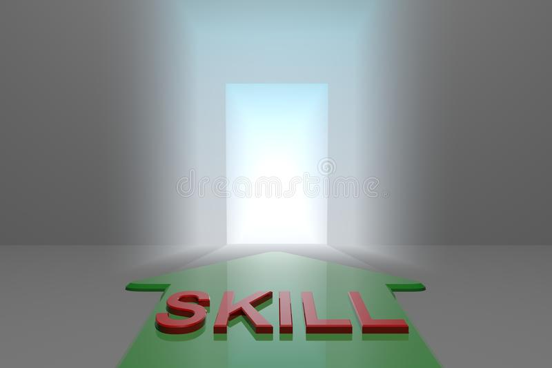 Skill to the open gate. Green arrow with skill word front of the open gate , 3d rendered stock illustration
