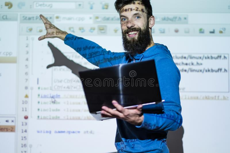 Skill-up courses trainer man sharing experience stock image