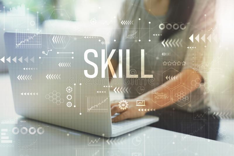 Skill with woman using laptop royalty free stock photos