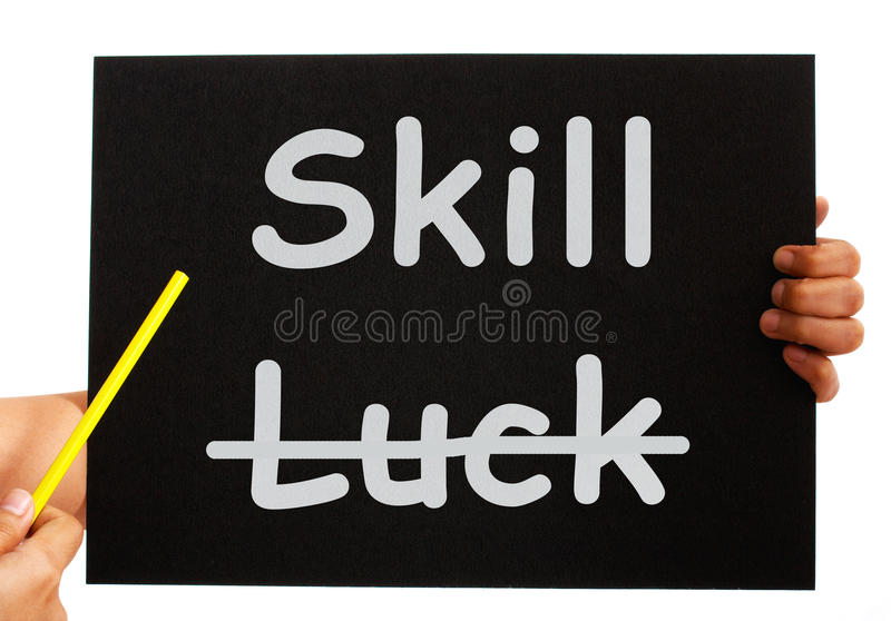 Skill Word On Board Shows Expertise Not Luck Stock Image