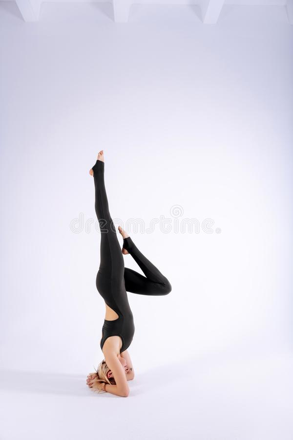 Skilled young woman having a yoga training royalty free stock photos