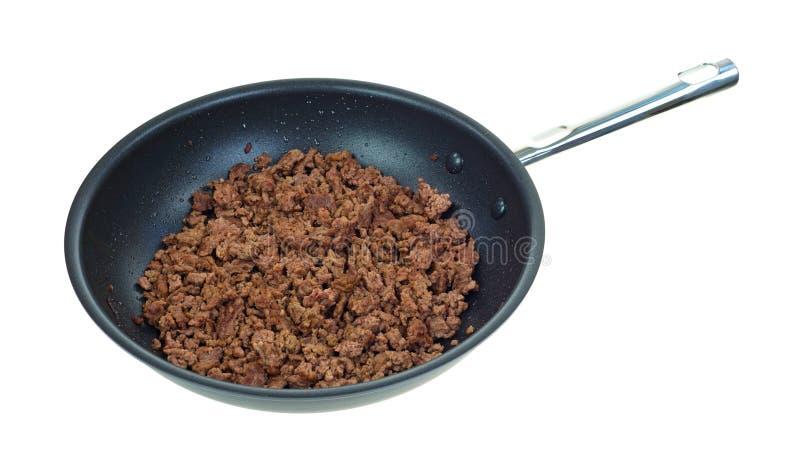 Skillet com carne à terra cozinhada imagem de stock