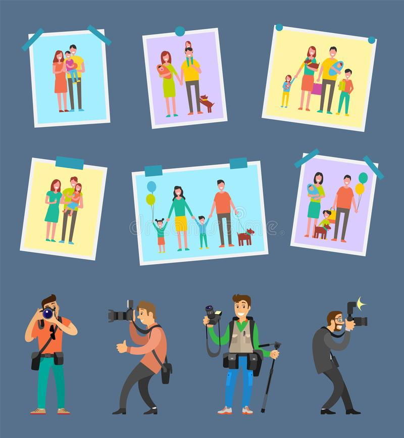 Skillful Photographers, Equipment Digital Camera. Skillful photographers, professional equipment camera gears and tripod vector. Samples of works, family royalty free illustration