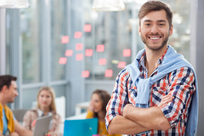 Skillful young designers are working in office royalty free stock photos