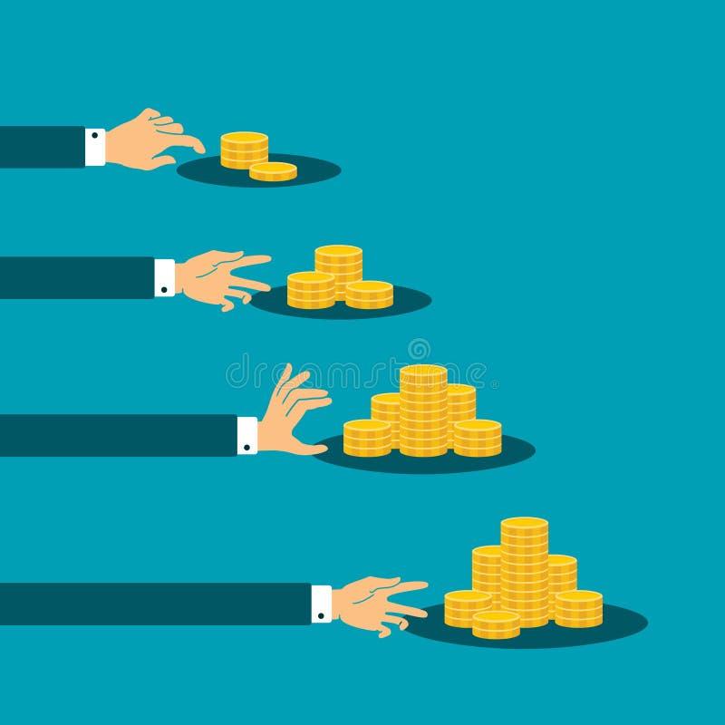 Skillnad i inkomstvektorbegrepp med buntar av guld- mynt vektor illustrationer