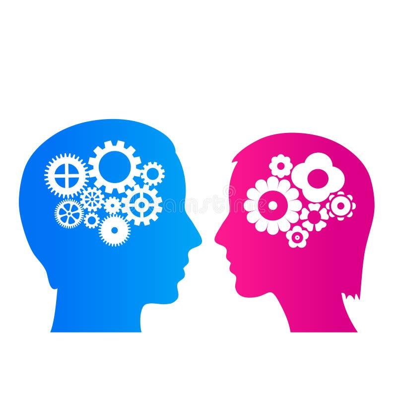 Tänkande man och kvinna vektor illustrationer
