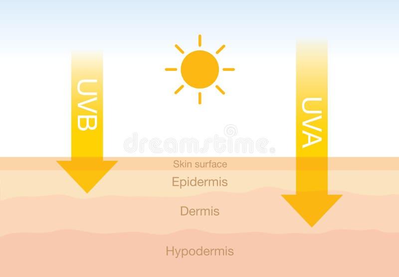 Skillnaden av utstrålning 2 skriver in solljus med hud vektor illustrationer