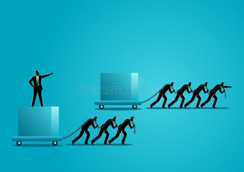 Skillnaden mellan ledaren och framstickandet stock illustrationer