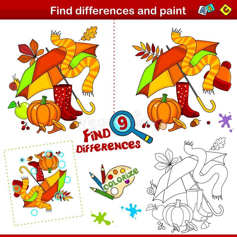 Skillnader och färgämnen del 3 vektor illustrationer