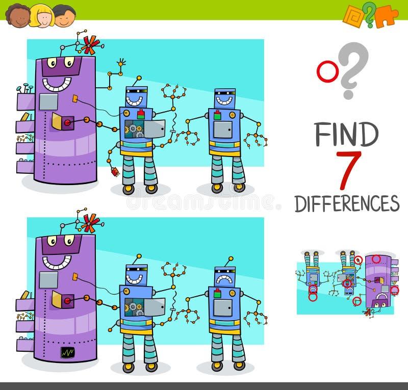 Skillnadlek med komiska robottecken royaltyfri illustrationer