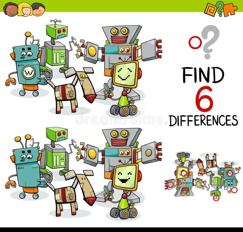 Skillnadlek med robotar vektor illustrationer