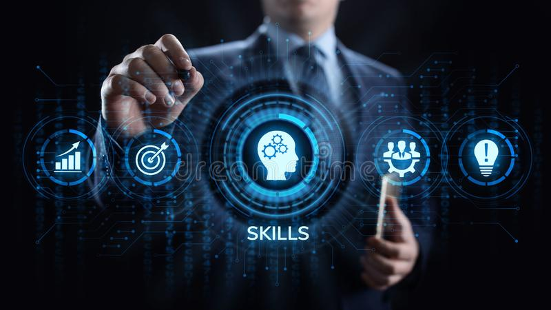 Skills Education Learning Personal development Competency Business concept. stock photo