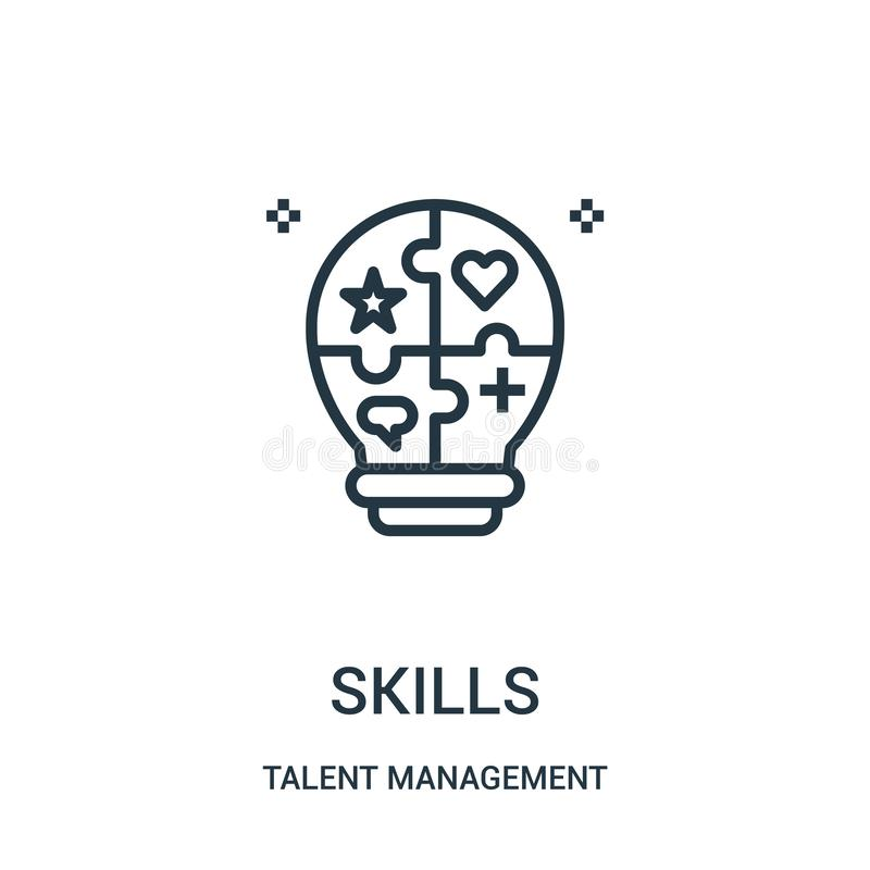 skills icon vector from talent management collection. Thin line skills outline icon vector illustration royalty free illustration