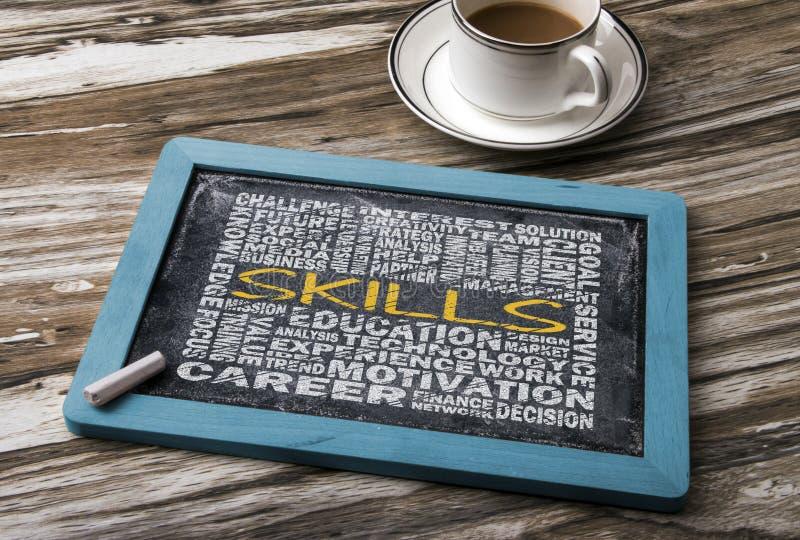 Skills word cloud. Concept on blackboard stock photo
