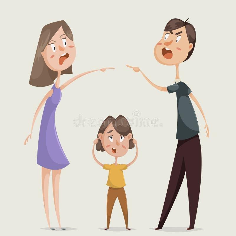 skilsmässa argumentera gravid kvinna för conflictfamiljman Par man, och kvinnan svär och barnslutet hans öron royaltyfri illustrationer