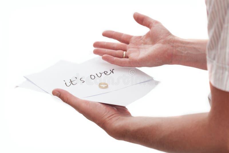 Skilsmässaanmärkning från fru arkivfoton