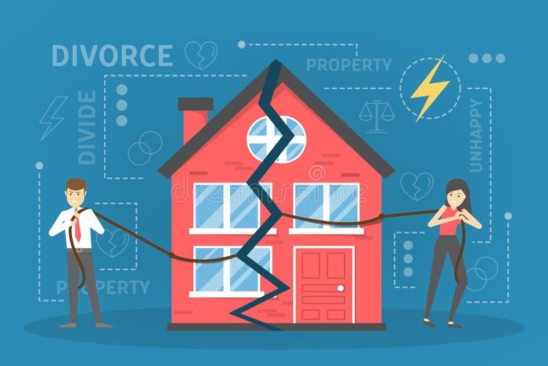 Skilsmässabegrepp Folket bryter upp och göra egenskapsuppdelning royaltyfri illustrationer