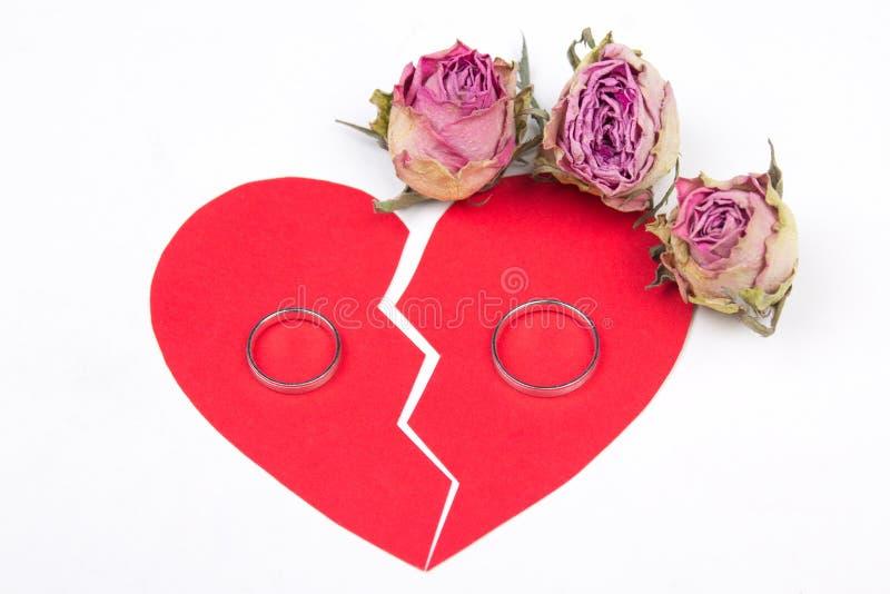 Skilsmässabegrepp - vigselringar på röd bruten hjärta med torr flo royaltyfria foton