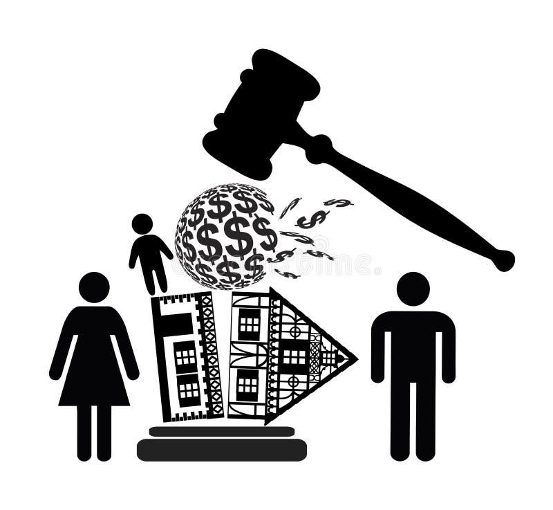 Skilsmässadekret royaltyfri illustrationer